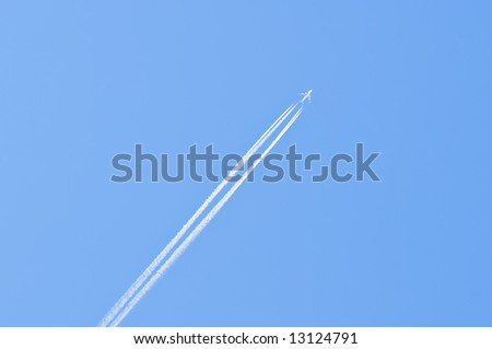 Airliner on a clear blue sky