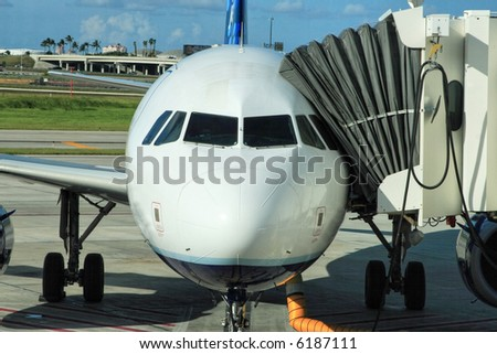 Airliner parked at the gate ready for boarding