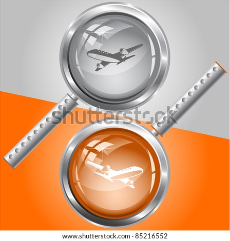 Airliner. Raster magnifying glass. Vector version is in my portfolio.