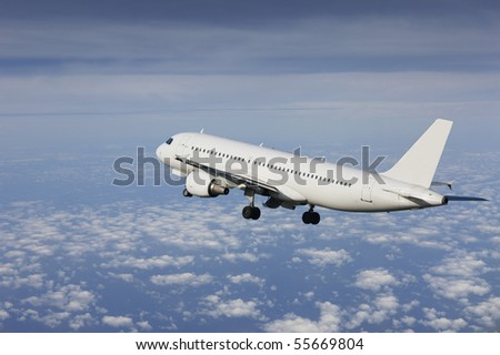 airliner taking off in a cloudy sky