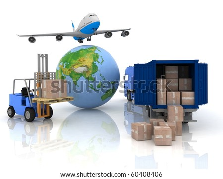 airliner with a globe and auto loader with boxes - stock photo