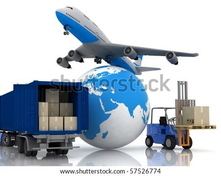 airliner with a globe and autoloader with boxes in a container - stock photo