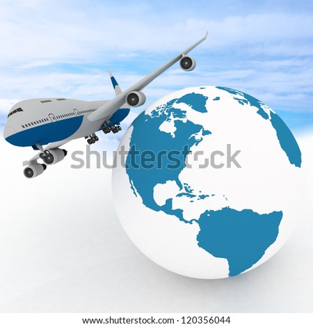 airliner with globe in the sky background