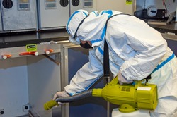 Airlines galley cleaning for Coronavirus Covid-19. Airplane cabin deep cleaning.