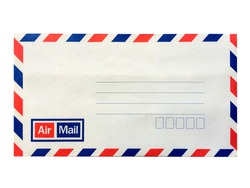 Airmail envelope isolated on white background.Vintage airmail envelope.