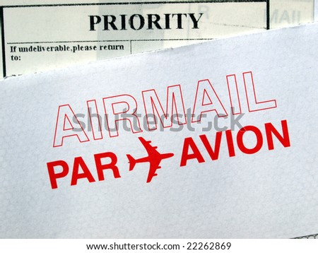 Airmail letter envelope priority mail