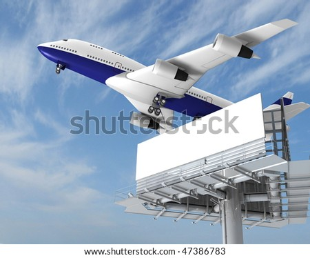 airplane and billboard on a background sky