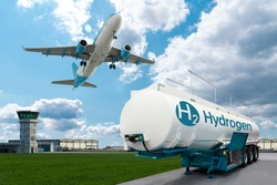 Airplane and hydrogen tank trailer on the background of airport. New energy sources