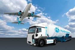 Airplane and truck with hydrogen tank trailer. New energy sources