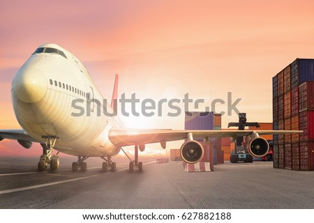 Airplane at airport with container yard concept of business Product shipping delivery transfer.