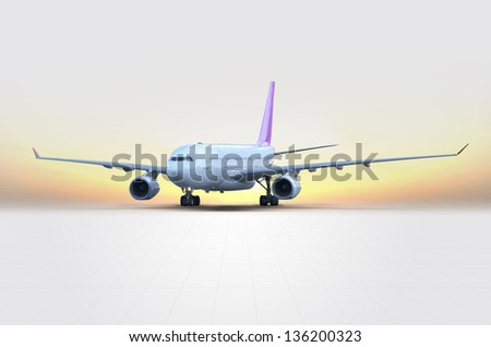 Airplane at sunset concept