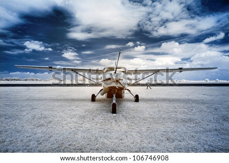 Airplane at the airport. The infrared image.
