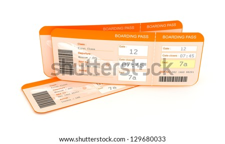 Airplane boarding pass tickets.