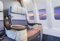 Airplane cabin interior view