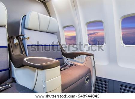 Airplane cabin interior view ストックフォト ©