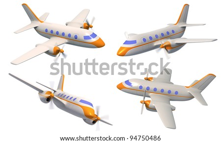 Airplane, 3d, isolated, set