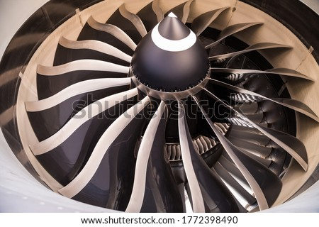 Airplane engine. Modern aircraft engine. Aviation technology. Composite material blades. Boeing 787 Dreamliner engine. General Electric GEnx-1B.