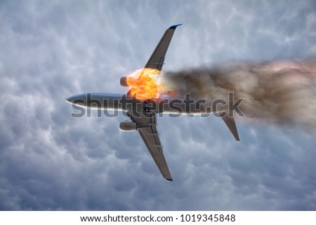 Stock Photo Airplane explosion with engine on fire
