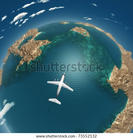 airplane flight above sea islands
