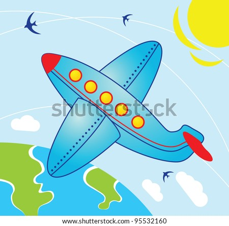 Airplane fly over the earth - Illustration in cartoon style