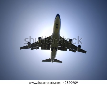 Airplane fly under sunlight