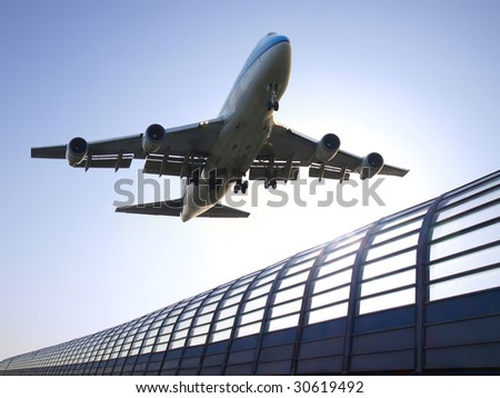 Airplane flying - stock photo