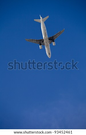 Airplane flying in Lisbon, Portugal, Europe