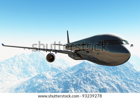 Airplane flying in over a cold area 3D render