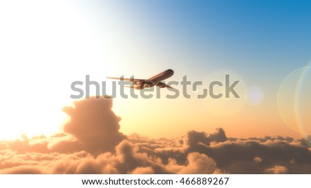 Airplane flying on the sky 3d rendering