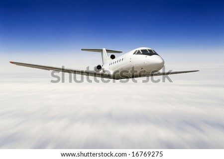 airplane flying over a sky (zoom blur)