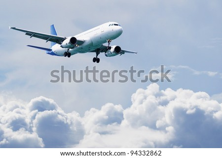 Airplane flying over cloudy sky. Commercial travel airline concept