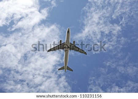 Airplane flying over highway