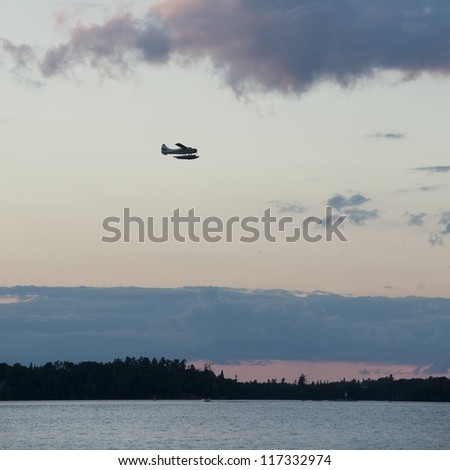 Airplane flying over Lake of the Woods, Ontario