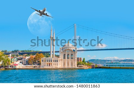 """Airplane flying over Ortakoy Mosque with full moon - Istanbul, Turkey """"Elements of this image furnished by NASA"""""""