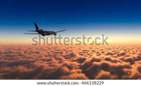Airplane flying over the cloud sunrise 3d rendering