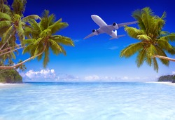 Airplane Flying Over Tropical Beach Travel Concept