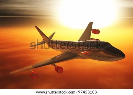 Airplane flying sunset   sunrise 3D render