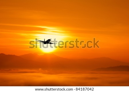 airplane flying to the sun
