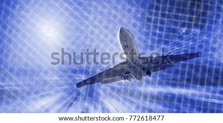 Airplane flying with dynamic motion blur abstract background #772618477