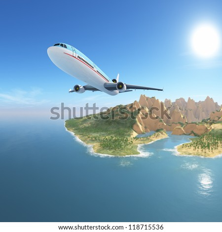 Airplane from exotic island / CG