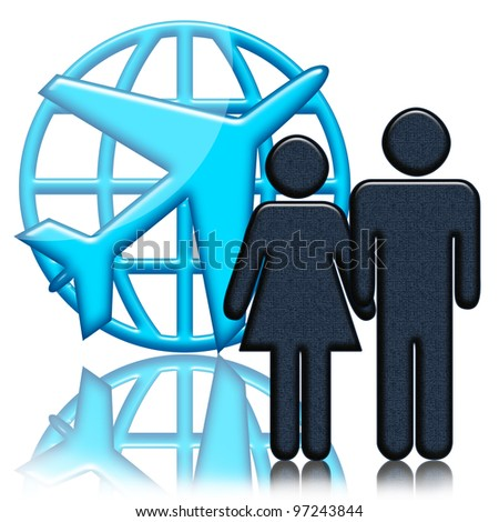 Airplane, globe and people ready to flight