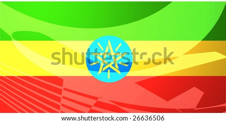 Airplane image superimposed over Flag of Ethiopia, national country symbol illustration indicating commercial air travel