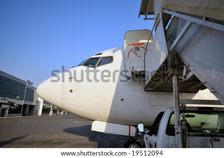 Airplane in airport of Ercan, Northern Cyprus