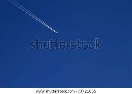 Airplane in bright blue sky