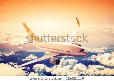 airplane in flight. a big...