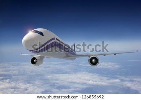 Airplane in flight. 3D image.