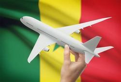 Airplane in hand with national flag on background - Senegal