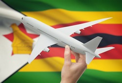 Airplane in hand with national flag on background - Zimbabwe