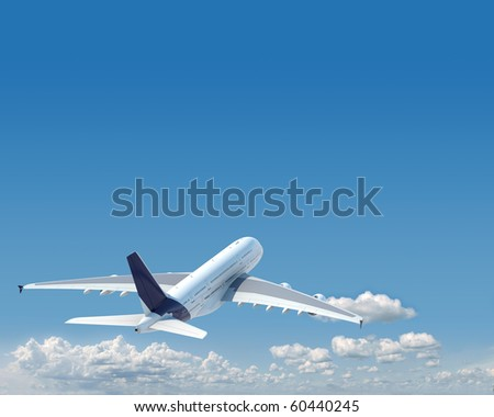 airplane in the sky seen from behind with copy space in the top and a clipping path in the plane