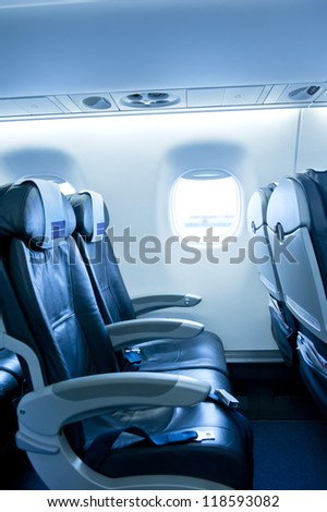 Airplane interior before boarding